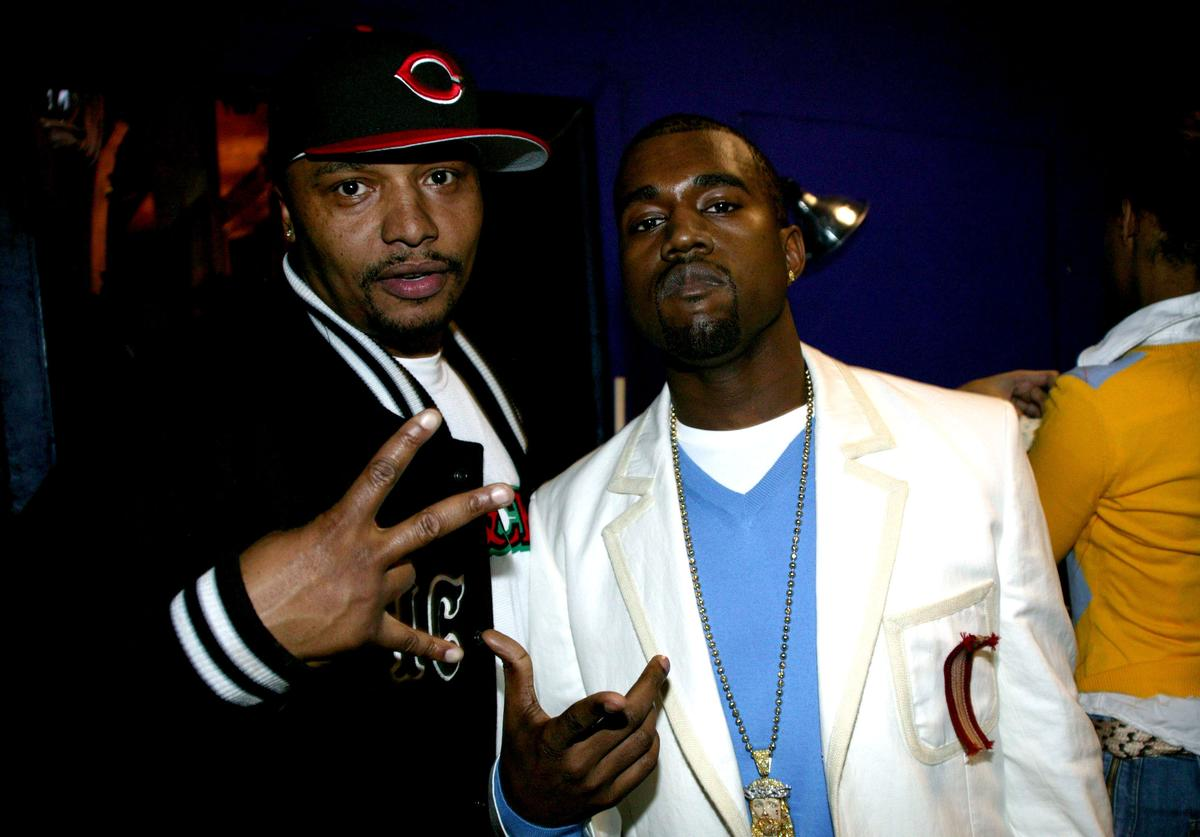 Malik Yusef and Kanye West during Def Poetry Jam - February 24, 2005 at The Supper Club in New York City, New York, United States.