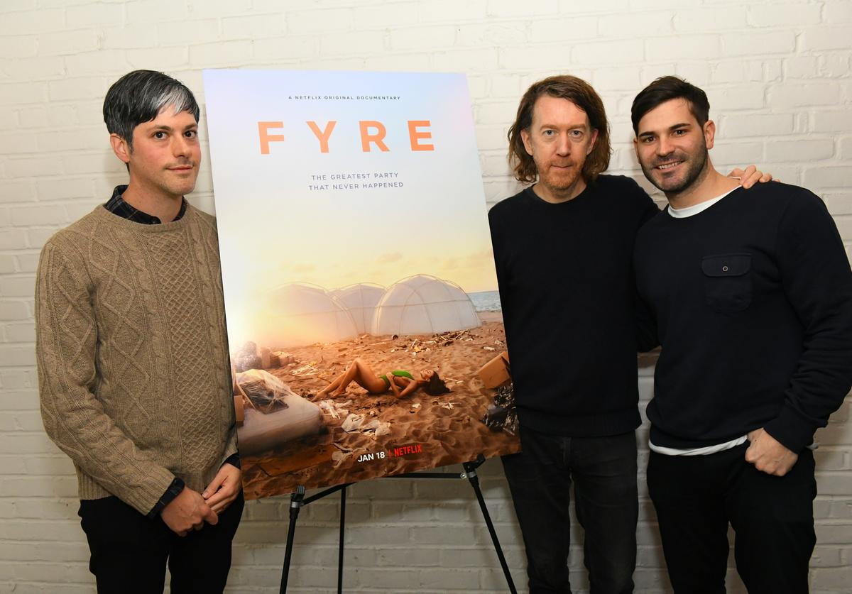 Danny Gabai, director Chris Smith and producer Mick Purzycki attend New York screening of Netflix's 'FYRE: THE GREATEST PARTY THAT NEVER HAPPENED' at The Metrograph on January 14, 2019 in New York City.