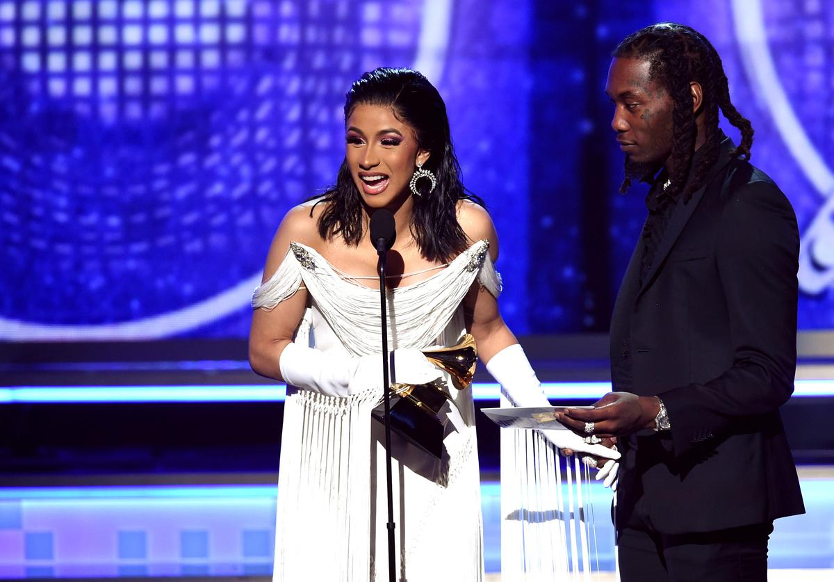 Cardi B (L) and Offset accept the Best Rap Album for 'Invasion of Privacy' onstage during the 61st Annual GRAMMY Awards at Staples Center on February 10, 2019 in Los Angeles, California.