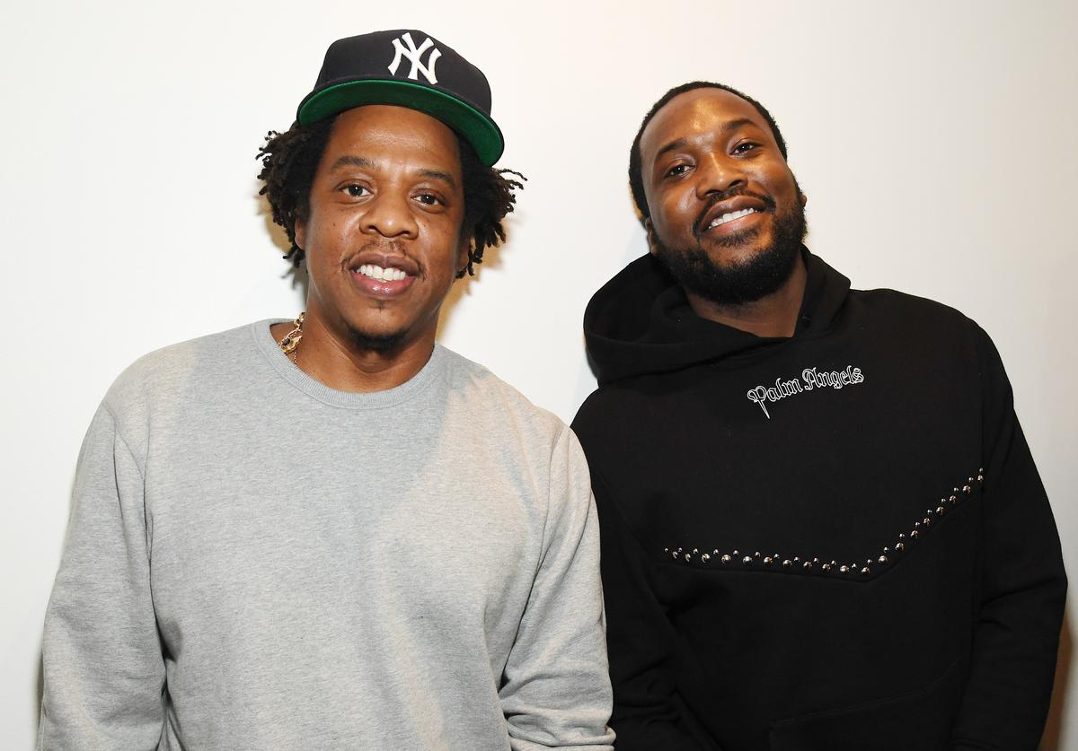 Shawn 'Jay-Z' Carter (L) and Meek Mill attend the launch of The Reform Alliance at John Jay College on January 23, 2019 in New York City.
