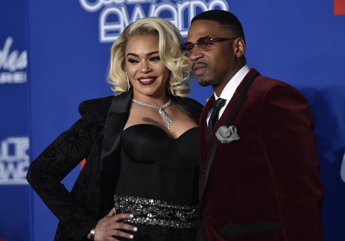 Faith Evans (L) and her husband Stevie J attend the 2018 Soul Train Awards at the Orleans Arena on November 17, 2018 in Las Vegas, Nevada