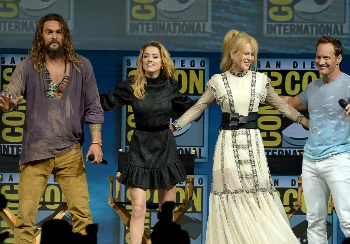 Jason Momoa, Amber Heard, Nicole Kidman and Patrick Wilson onstage at the Warner Bros. 'Aquaman' theatrical panel during Comic-Con International 2018 at San Diego Convention Center on July 21, 2018 in San Diego, California