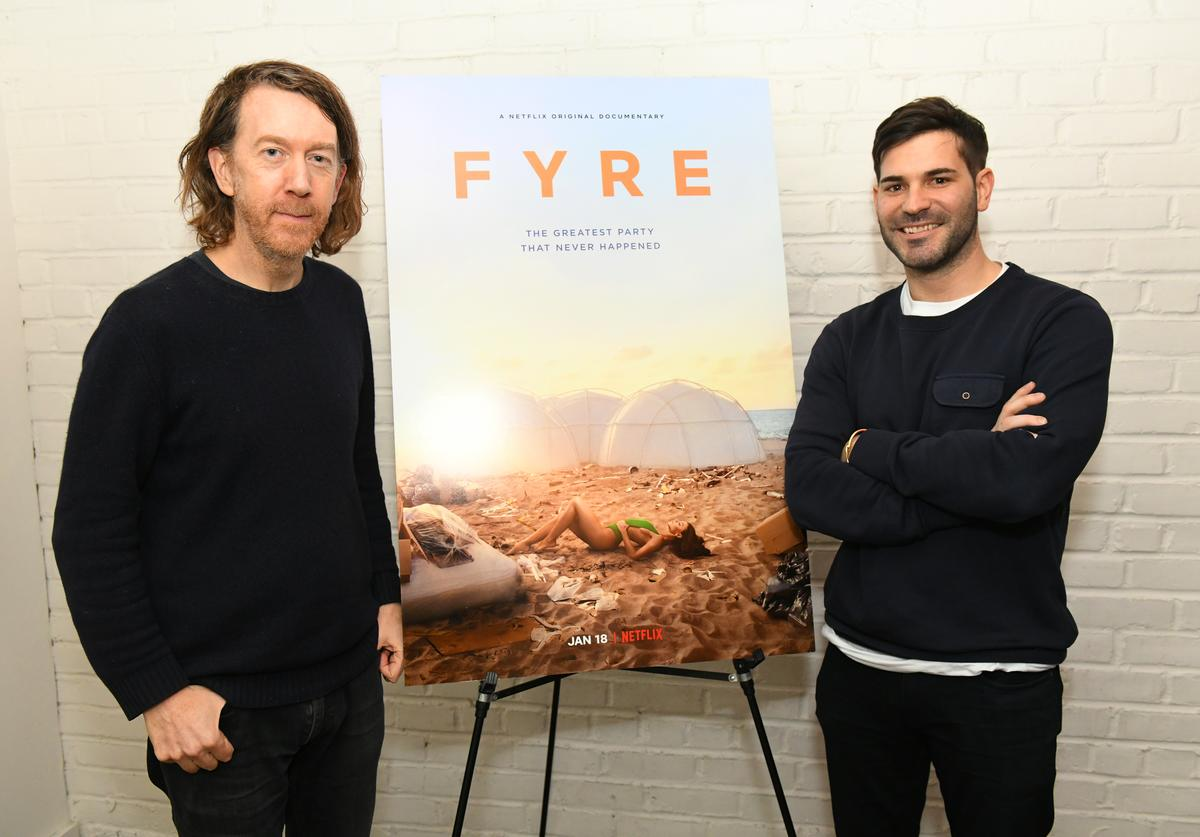 Director Chris Smith and producer Mick Purzycki attend New York screening of Netflix's 'FYRE: THE GREATEST PARTY THAT NEVER HAPPENED' at The Metrograph on January 14, 2019 in New York City.