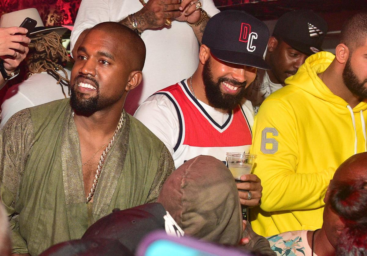 Kanye West, Kenny Burns and Drake attend at Compound on June 20, 2015 in Atlanta, Georgi