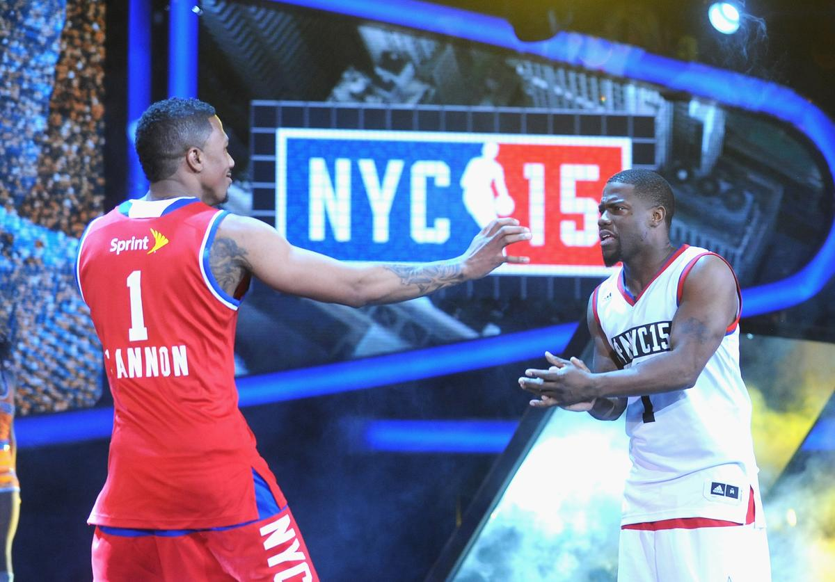 Nick Cannon and Kevin Hart attend the NBA All-Star Celebrity Game NBA All -Star Weekend 2015 on February 13, 2015 in New York City