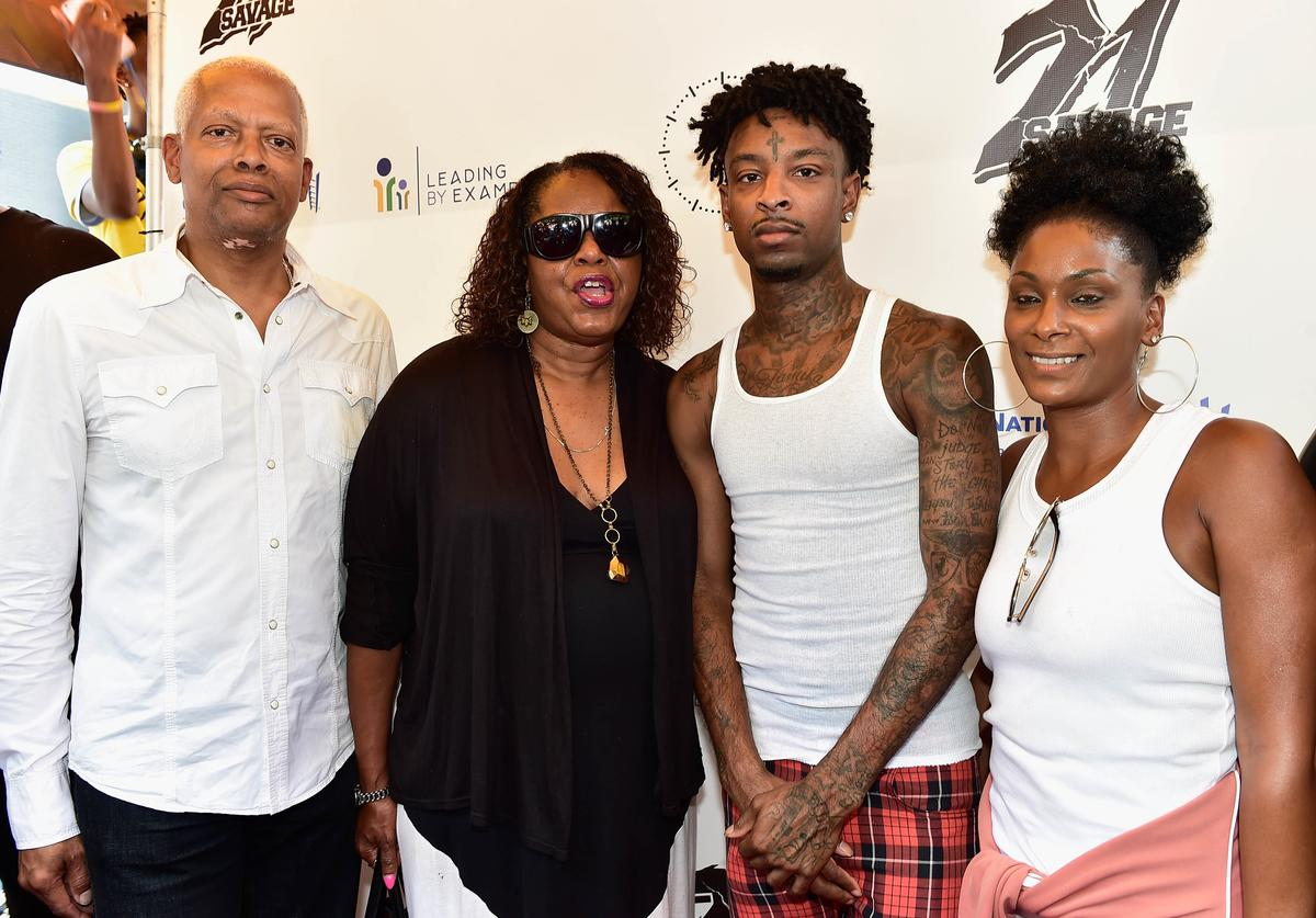 Hank Johnson,Dekalb Counry Commissioner Mereda Davis,recording artist 21 Savage and Heather Joseph attend 21 Savage And His Leading By Example Foundation Host 3rd Annual Issa Back 2 School Drive on August 5, 2018 in Decatur, Georgia