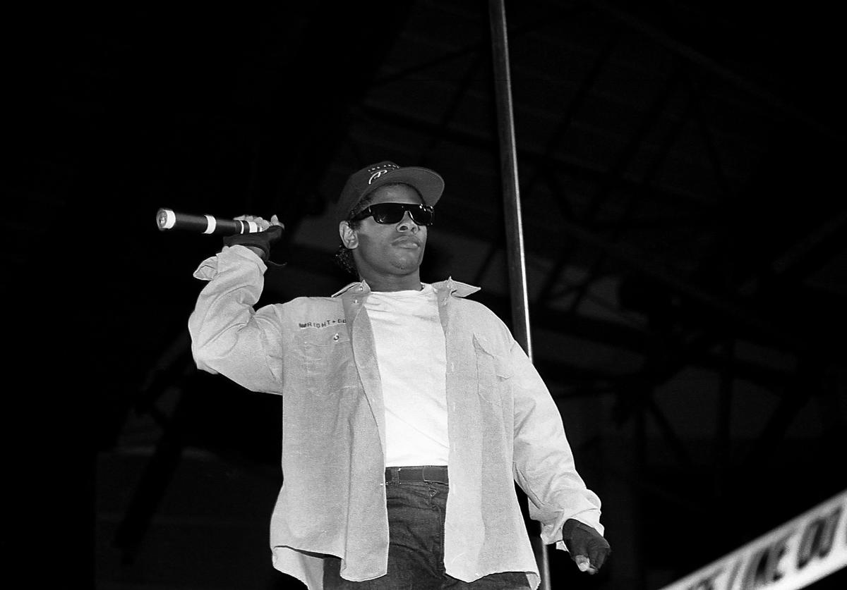 Rapper Eazy-E from N.W.A. performs during the 'Straight Outta Compton' tour at the Mecca Arena in Milwaukee, Wisconsin in June 1989.