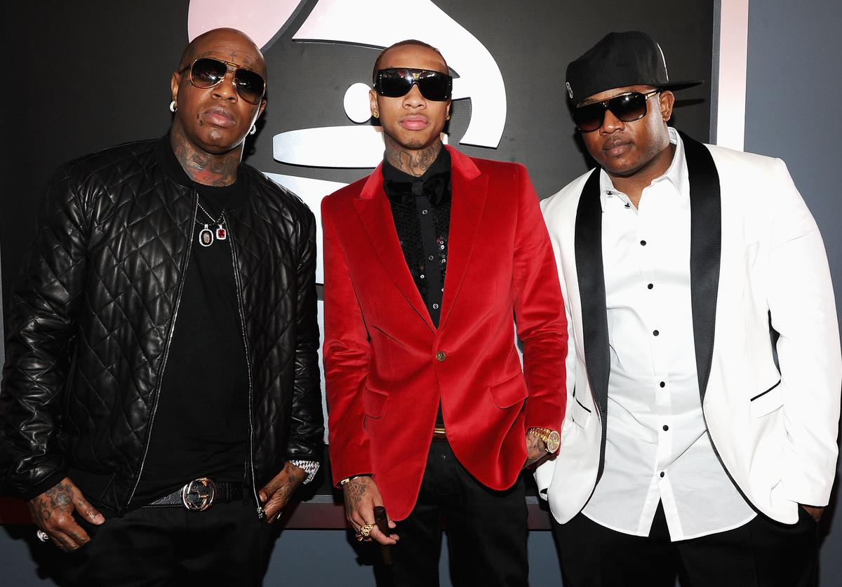 Rappers Birdman, Tyga and Mack Maine arrive at the 54th Annual GRAMMY Awards held at Staples Center on February 12, 2012 in Los Angeles, California.