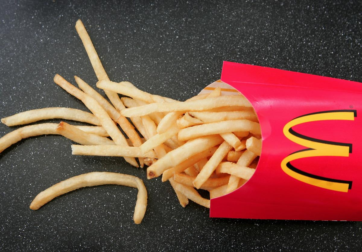 French fries sit on a table at a McDonald's restaurant February 15, 2006 in Des Plaines, Illinois