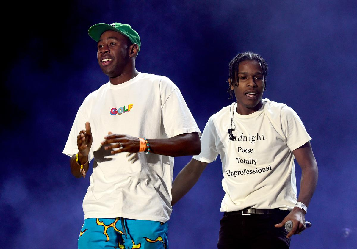 Recording artists Tyler, The Creator (L) and ASAP Rocky perform onstage during day 1 of the 2016 Coachella Valley Music & Arts Festival Weekend 2 at the Empire Polo Club on April 22, 2016 in Indio, California.