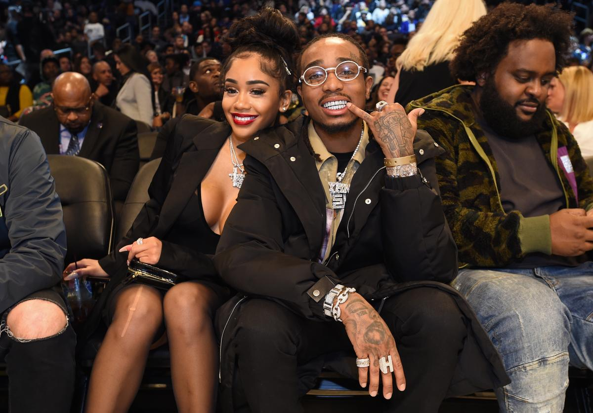Saweetie and Quavo pose for a photo during the 2019 NBA All-Star Game on February 17, 2019 at Spectrum Center in Charlotte, North Carolina
