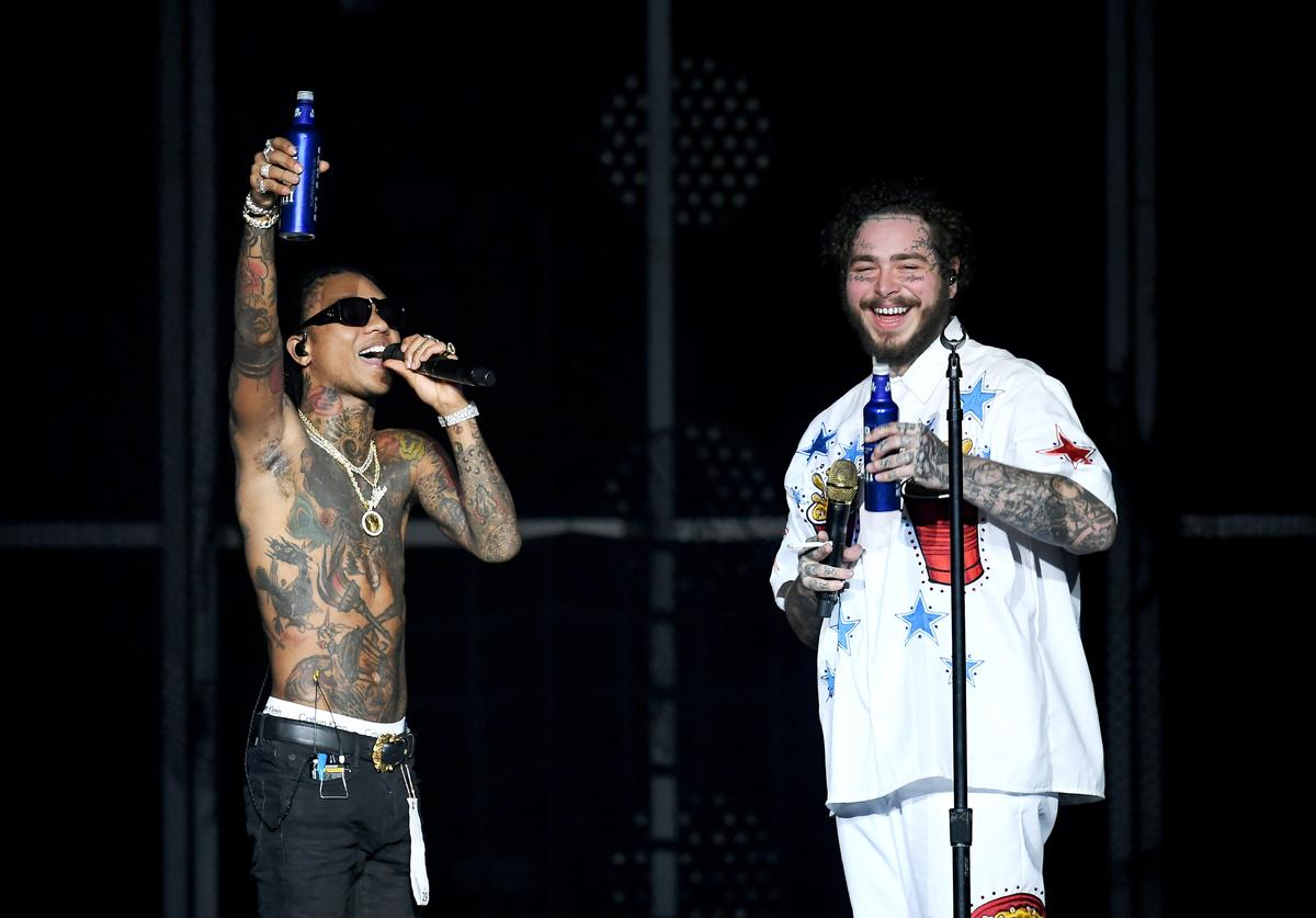 Swae Lee and Post Malone perform onstage during Day 2 of Bud Light Super Bowl Music Fest at State Farm Arena on February 1, 2019 in Atlanta, Georgia