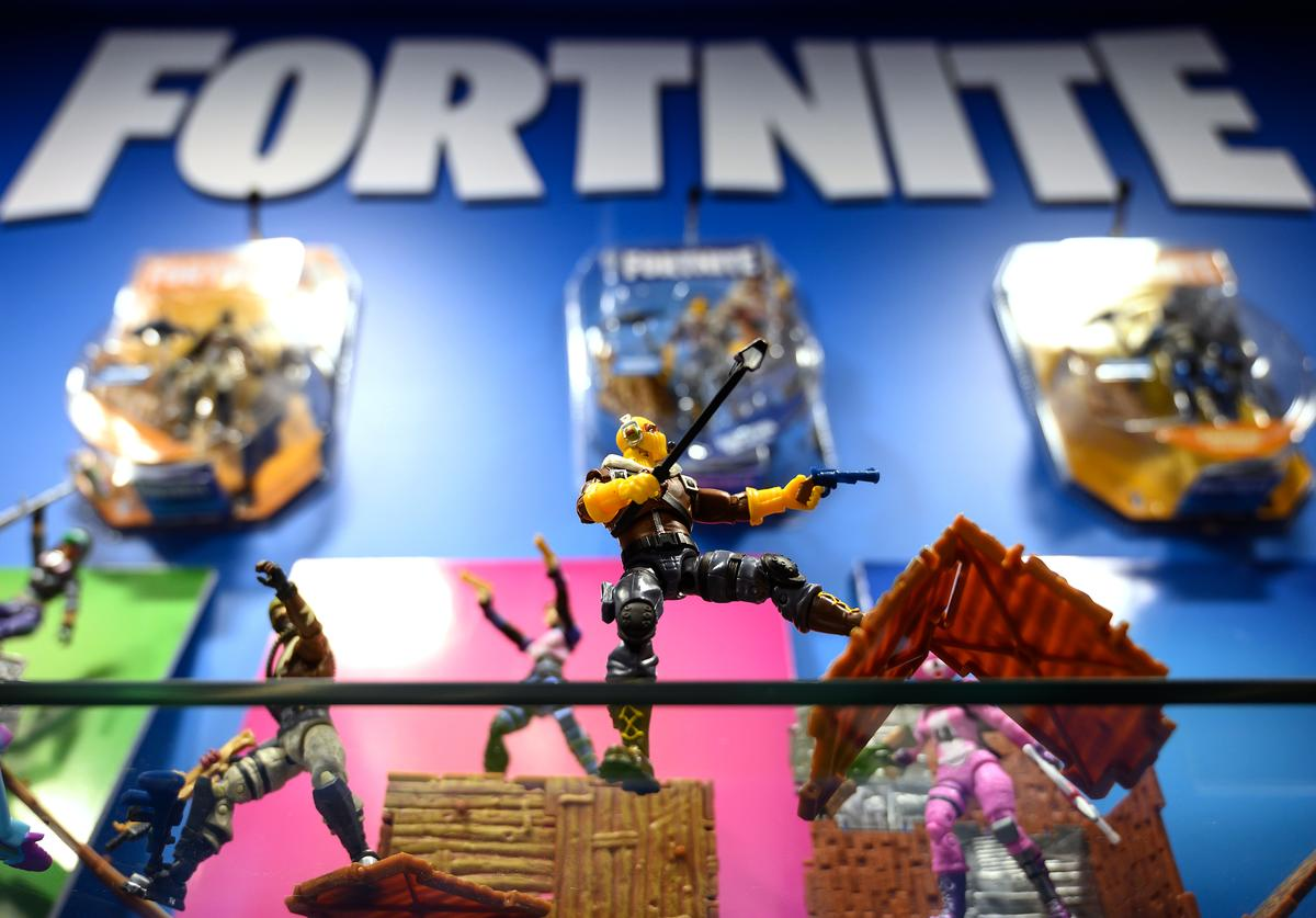 A selection of 'Fortnite' action figures are seen on a display at the annual 'Toy Fair' at Olympia London on January 22, 2019 in London, England