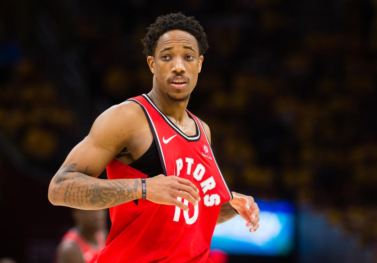 DeMar DeRozan #10 of the Toronto Raptors reacts during the second half of Game 4 of the second round of the Eastern Conference playoffs against the Cleveland Cavaliers at Quicken Loans Arena on May 7, 2018 in Cleveland, Ohio. The Cavaliers defeated the Raptors 128-93. NOTE TO USER: User expressly acknowledges and agrees that, by downloading and or using this photograph, User is consenting to the terms and conditions of the Getty Images License Agreement