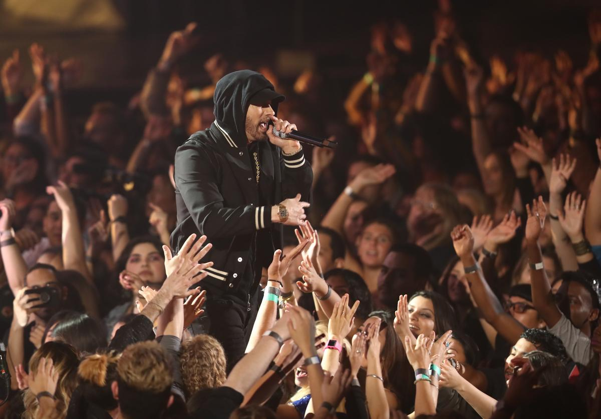 Eminem performs onstage during the 2018 iHeartRadio Music Awards which broadcasted live on TBS, TNT, and truTV at The Forum on March 11, 2018 in Inglewood, California