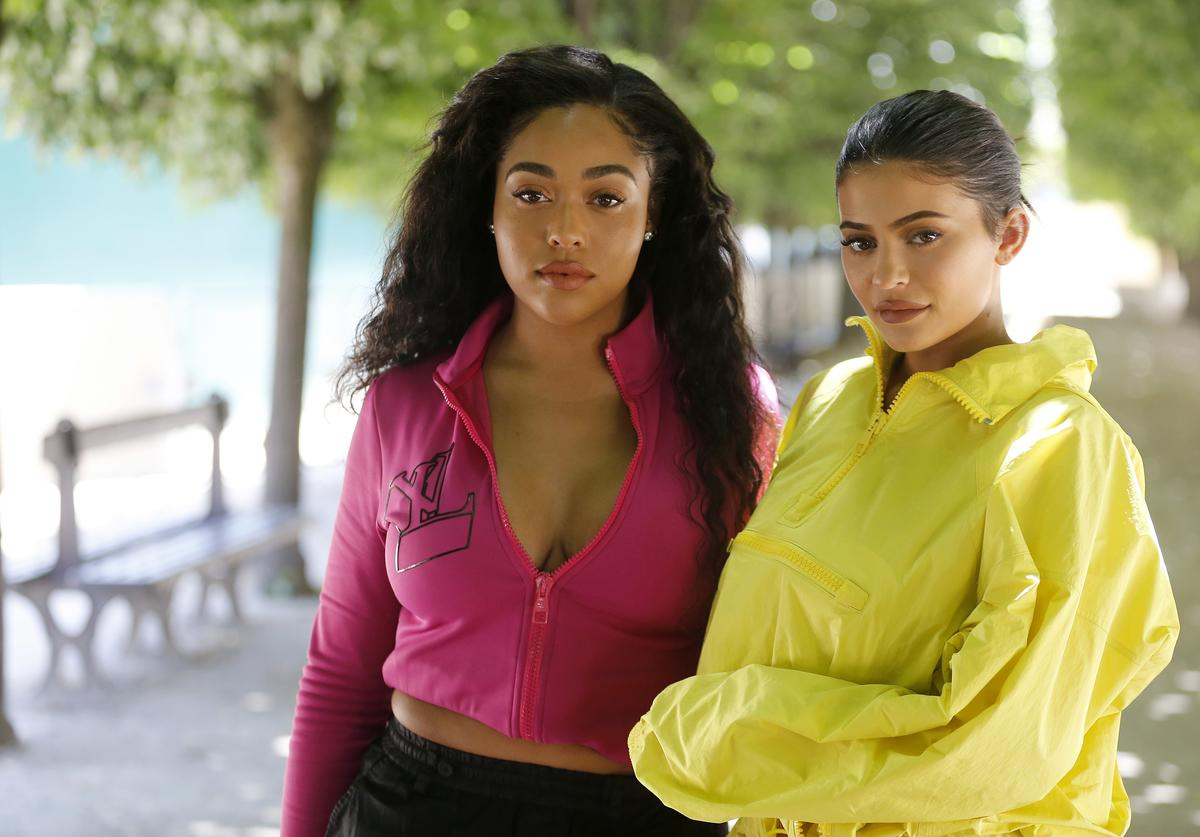 Jordyn Woods and Kylie Jenner attend the Louis Vuitton Menswear Spring/Summer 2019 show as part of Paris Fashion Week on June 21, 2018 in Paris, France