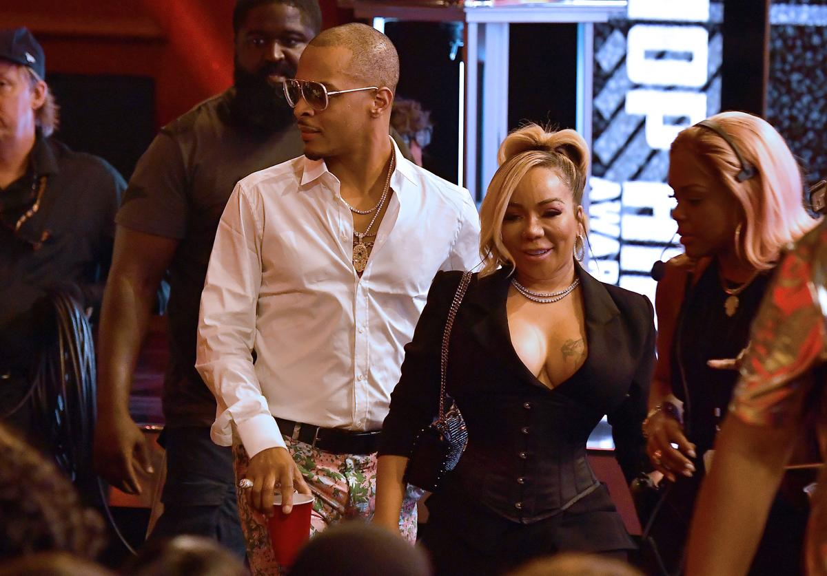 T.I. and Tiny onstage during the BET Hip Hop Awards 2018 at Fillmore Miami Beach on October 6, 2018 in Miami Beach, Florida