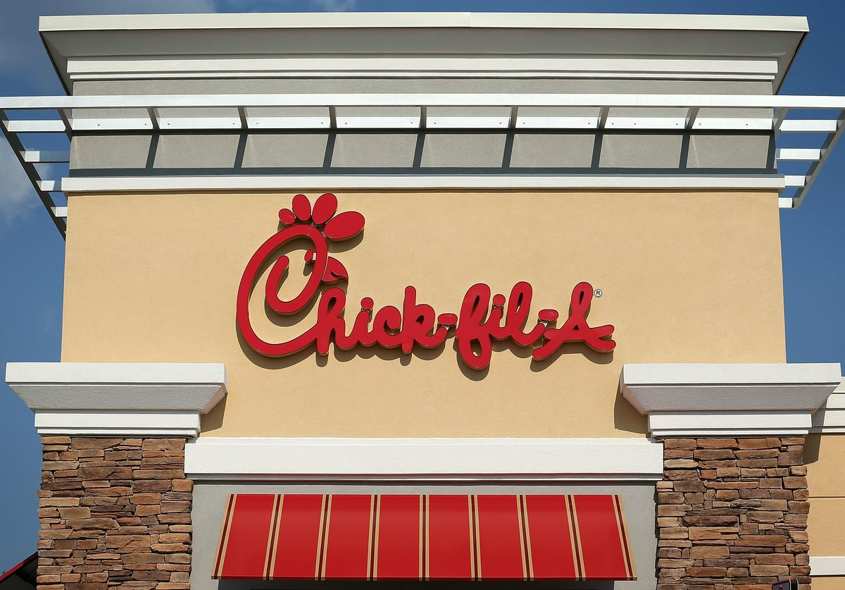 The sign of a Chick-fil-A is seen July 26, 2012 in Springfield, Virginia. The recent comments on supporting traditional marriage which made by Chick-fil-A CEO Dan Cathy has sparked a big debate on the issue.