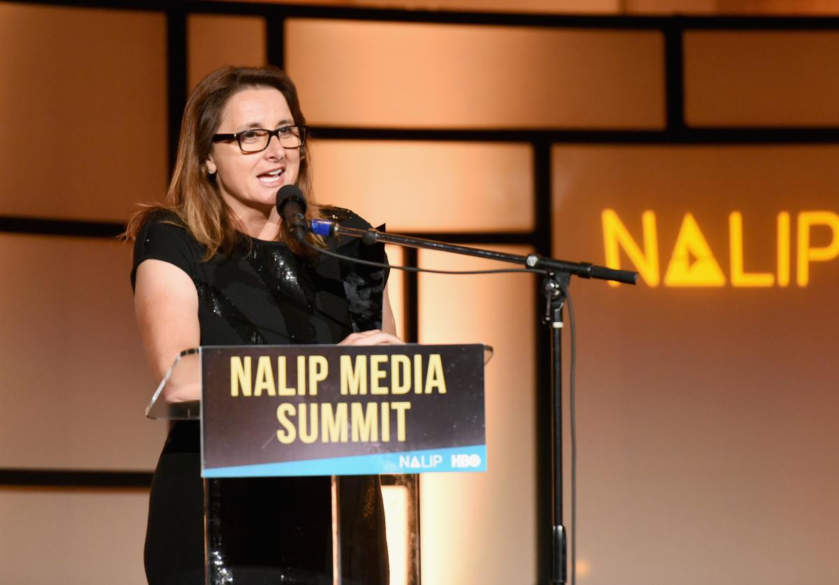 Victoria Alonso, recipient of the Tech Arts Innovator Award, speaks onstage during the NALIP 2018 Latino Media Awards at The Ray Dolby Ballroom at Hollywood & Highland Center on June 23, 2018 in Hollywood, California