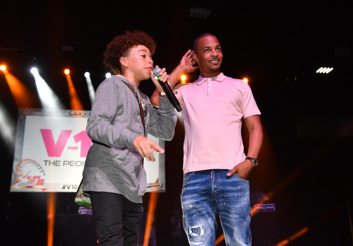 King Harris and T.I. onstage during 2018 V-103 Car & Bike Show at Georgia World Congress Center on July 14, 2018 in Atlanta, Georgia