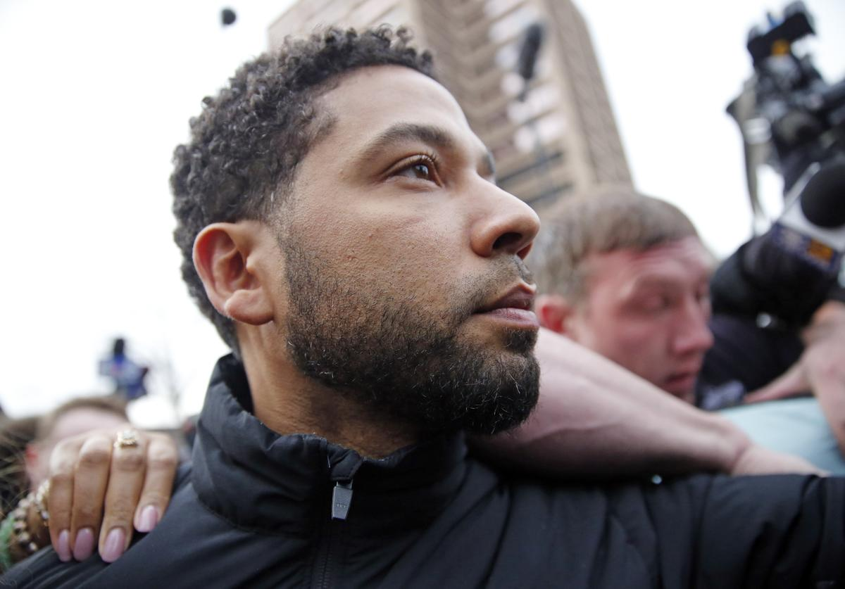 Empire actor Jussie Smollett leaves Cook County jail after posting bond on February 21, 2019 in Chicago, Illinois. Smollett has been accused with arranging a homophobic, racist attack against himself in an attempt to raise his profile because he was dissatisfied with his salary.