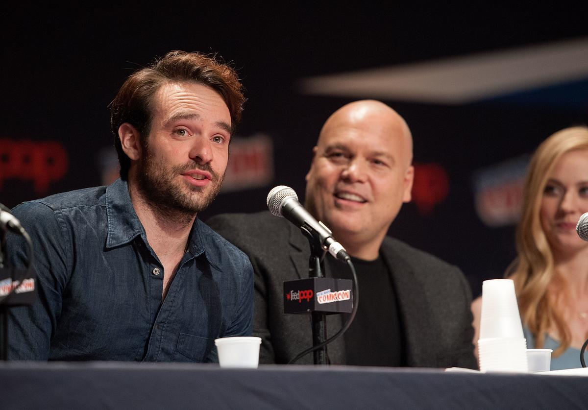 Charlie Cox, Vincent D'Onofrio, and Deborah Ann Woll attend the Netflix Original Series 'Marvel's Daredevil' New York Comic-Con Panel & Cast Signing at the Javits Center on October 11, 2014 in New York City.