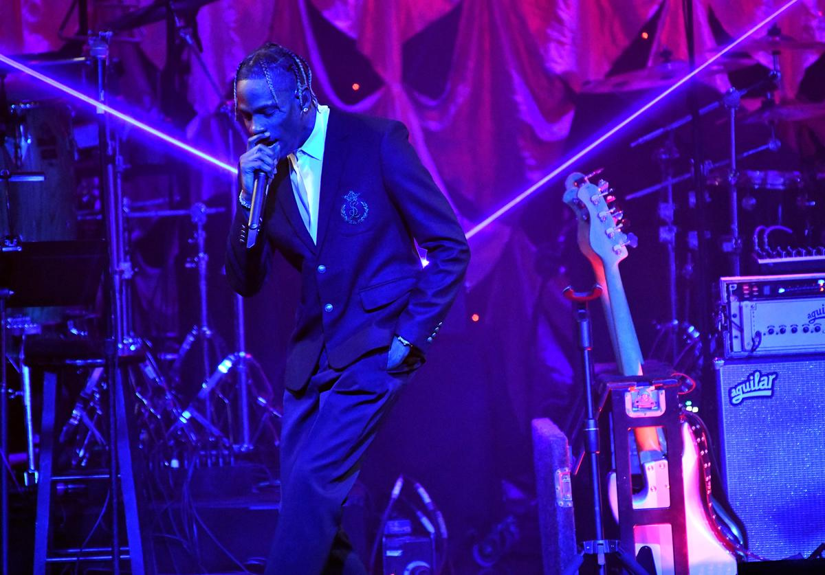 Travis Scott performs onstage during The Recording Academy and Clive Davis' 2019 Pre-GRAMMY Gala Show at The Beverly Hilton Hotel on February 09, 2019 in Beverly Hills, California