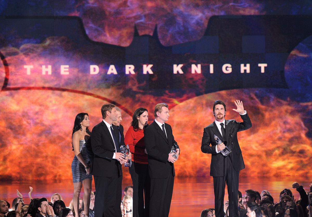 Actor Aaron Eckhart, producers, Director Christopher Nolan and actor Christian Bale accept multiple awards (Favorite On-Screen Match-Up, Action Movie, Cast and Superhero) for The Dark Knight during the 35th Annual People's Choice Awards held at the Shrine Auditorium on January 7, 2009 in Los Angeles, California.