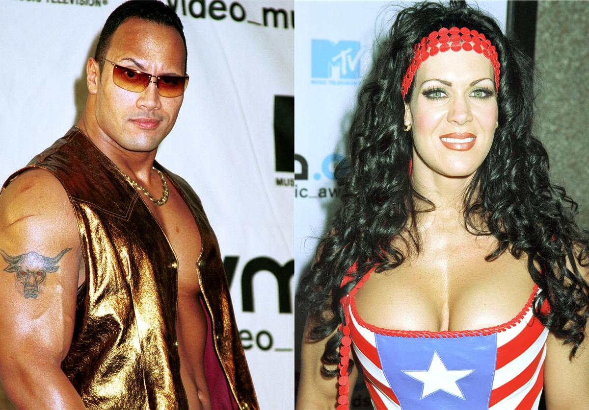 Wrestlers The Rock and Chyna throwback pics