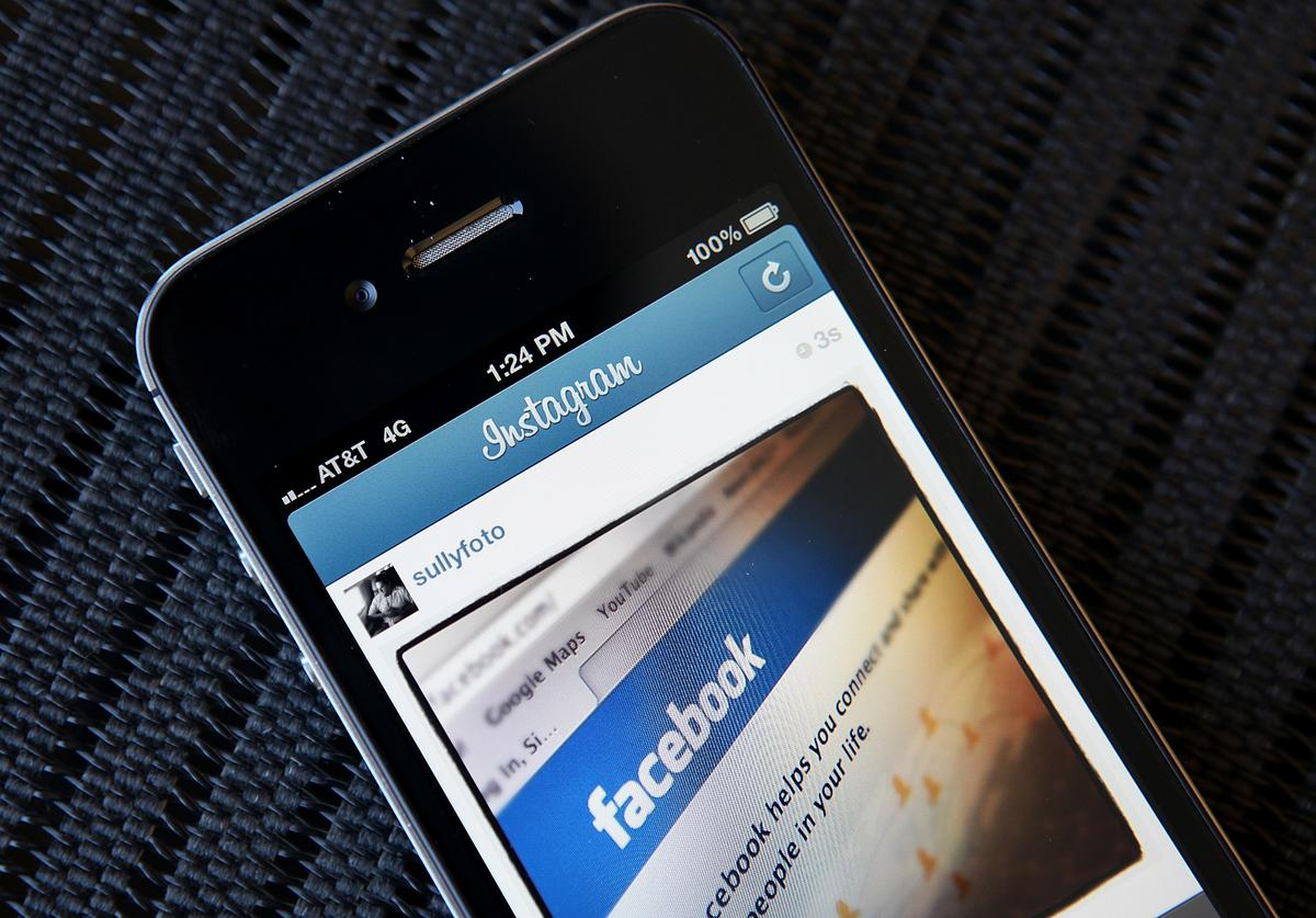Instagram photo of the Facebook website app is seen on an Apple iPhone on April 9, 2012 in New York City