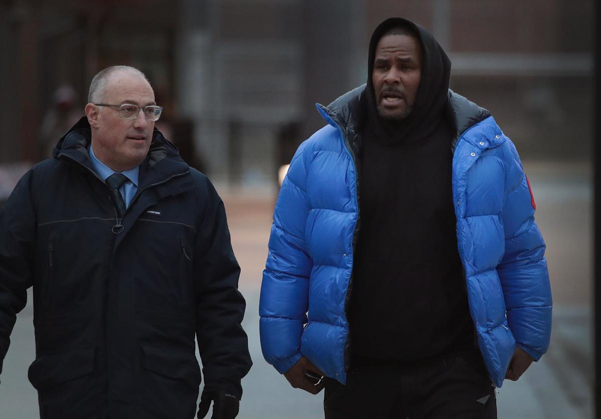 R. Kelly (R) and his attorney Steve Greenberg leave Cook County jail after Kelly posted $100 thousand bond on February 25, 2019 in Chicago, Illinois