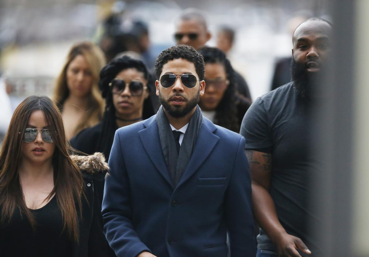 Jussie Smollett arrives at Leighton Criminal Courthouse on March 14, 2019 in Chicago, Illinois. Smollett stands accused of arranging a homophobic, racist attack against himself in an attempt to raise his profile because he was dissatisfied with his salary on the Fox television drama 'Empire.'