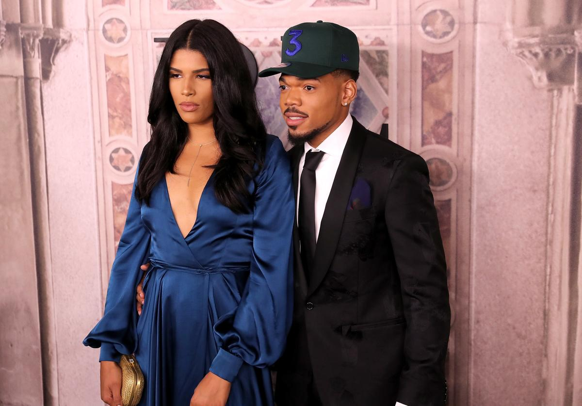 Kirsten Corley and Chance the Rapper attend the Ralph Lauren fashion show during New York Fashion Week at Bethesda Terrace on September 7, 2018 in New York City.