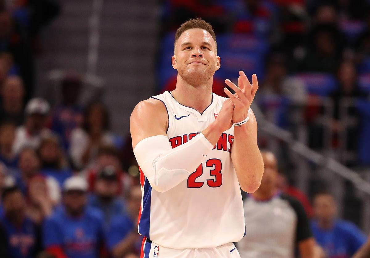 Blake Griffin #32 of the Detroit Pistons celebrates a first quarter basket during the game against the Memphis Grizzlies at Little Caesars Arena on February 1, 2018 in Detroit, Michigan.
