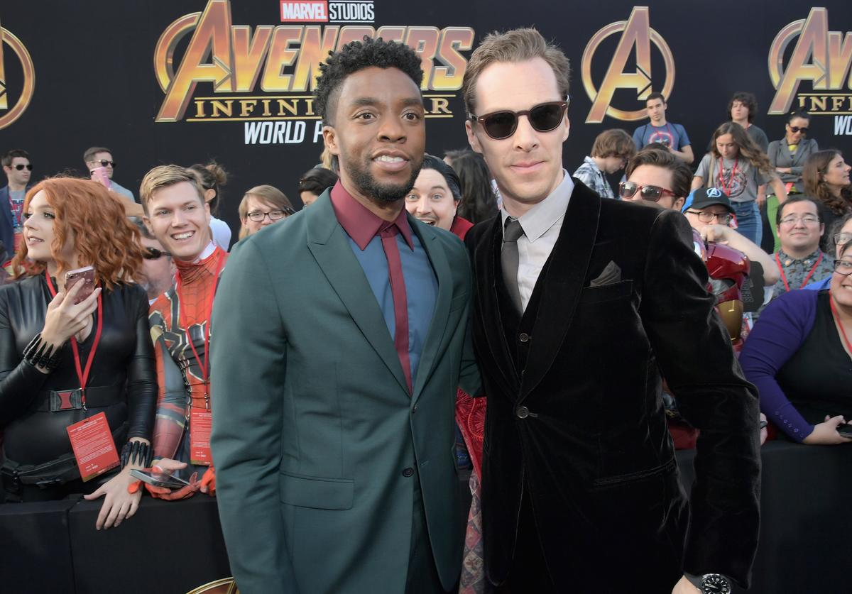 Actors Chadwick Boseman (L) and Benedict Cumberbatch attend the Los Angeles Global Premiere for Marvel Studios' Avengers: Infinity War on April 23, 2018 in Hollywood, California.