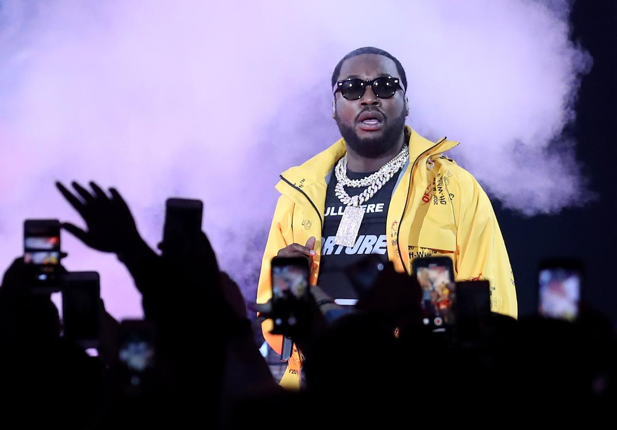 Meek Mill performs before the NBA All-Star game as part of the 2019 NBA All-Star Weekend at Spectrum Center on February 17, 2019 in Charlotte, North Carolina