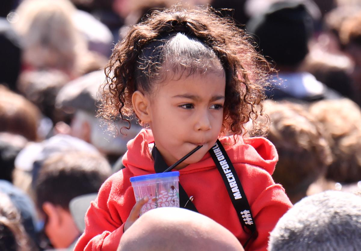 North West is seen in the crowd at March For Our Lives on March 24, 2018 in Washington, DC