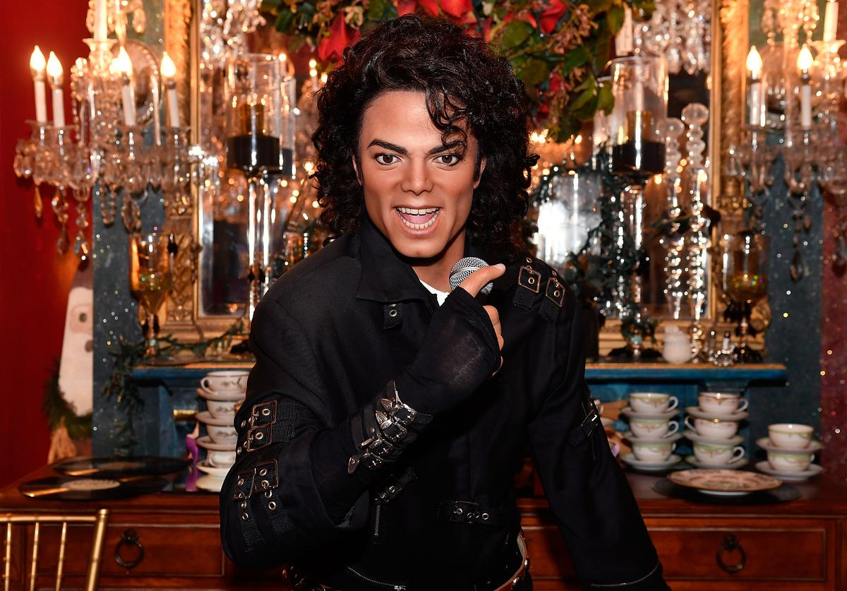 """Wax figures of Michael Jackson from the new Madame Tussauds DC experience, """"HIStory: The Legacy of Michael Jackson,"""" were launched at the Mansion on O Street on August 29, 2016—what would have been Jackson's 58th birthday."""