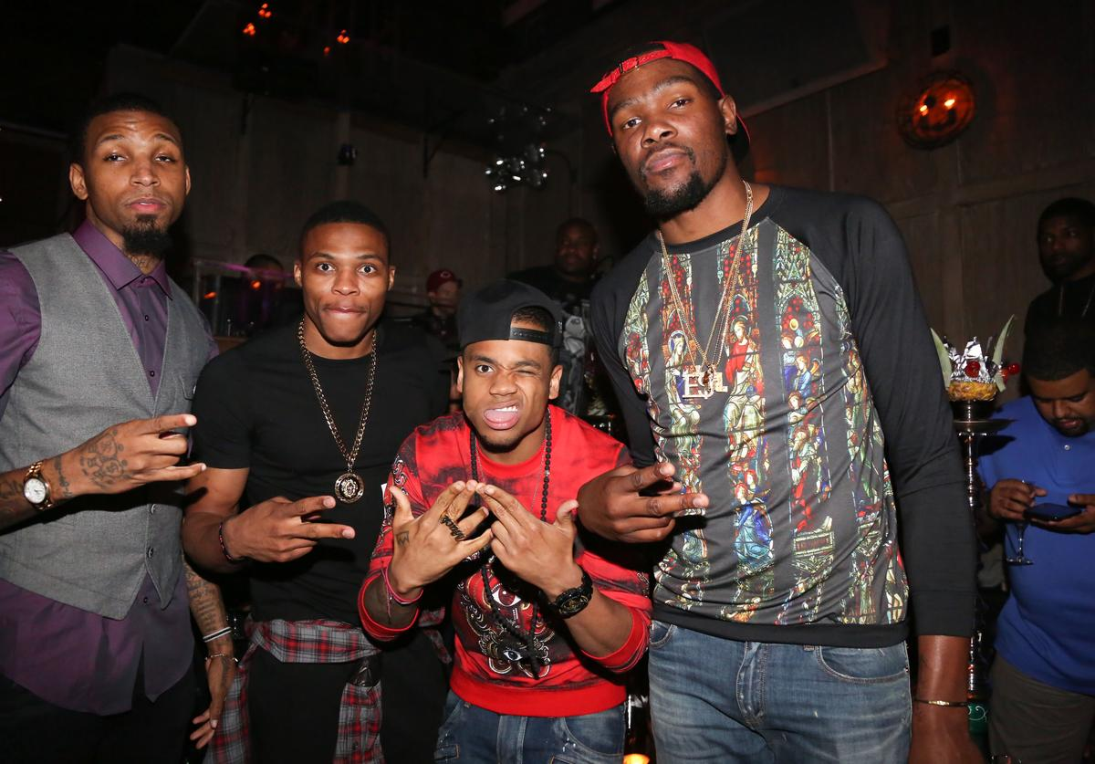 Cliff Dixon, Russell Westbrook, Mack Wilds and Kevin Durant attend Kevin Durant's 25th Birthday Party at Avenue on September 22, 2013 in New York City