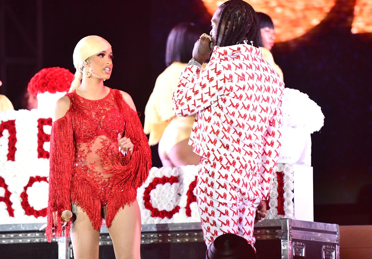 Cardi B is presented a 'Take Me Back' card onstage by Offset during day 2 of the Rolling Loud Festival at Banc of California Stadium on December 15, 2018 in Los Angeles, California