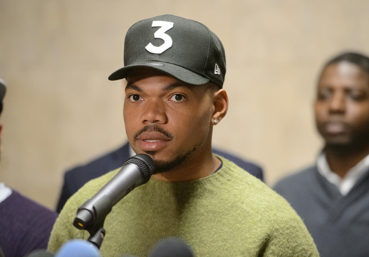 Chance the Rapper holds a press conference endorsing Toni Preckwinkle for Mayor of Chicago at City Hall on March 21, 2019 in Chicago, Illinois.