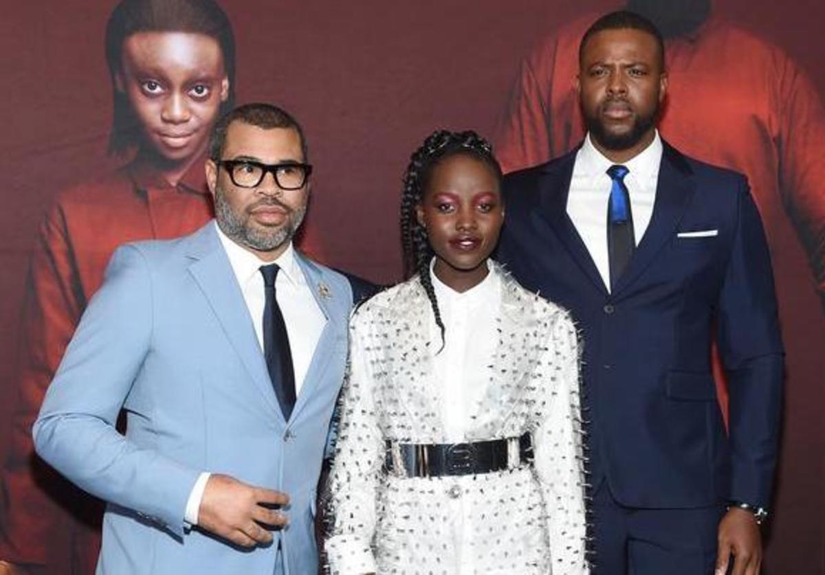 Jordan Peele, Lupita Nyogno and Winston Duke at Us movie premiere
