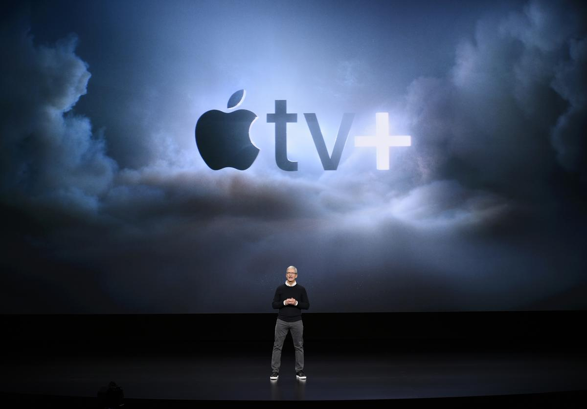 Apple Inc. CEO Tim Cook speaks during a company product launch event at the Steve Jobs Theater at Apple Park on March 25, 2019 in Cupertino, California. Apple announced the launch of it's new video streaming service, unveiled a premium subscription tier to its News app, and announced it would release its own credit card, called Apple Card.