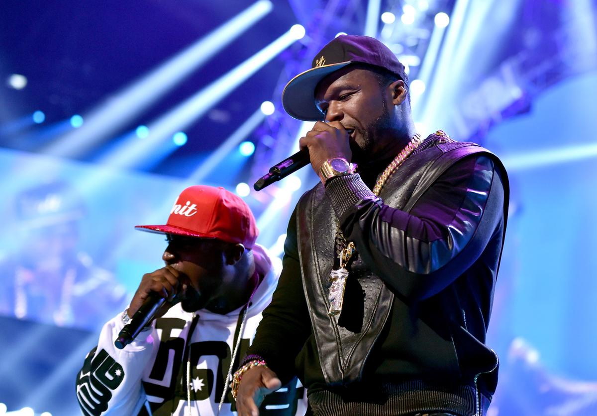 Young Buck (L) and Curtis '50 Cent' Jackson of the music group G-Unit performs onstage during the 2014 iHeartRadio Music Festival at the MGM Grand Garden Arena on September 20, 2014 in Las Vegas, Nevada