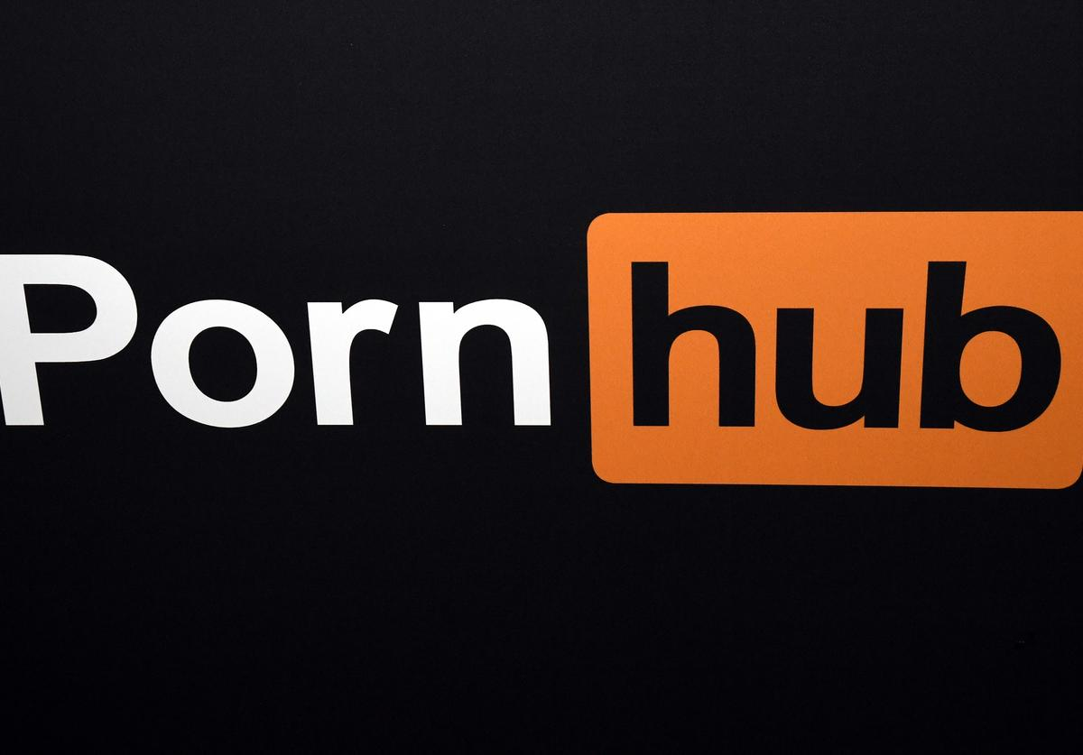 A Pornhub logo is displayed at the company's booth at the 2018 AVN Adult Entertainment Expo at the Hard Rock Hotel & Casino on January 24, 2018 in Las Vegas, Nevada