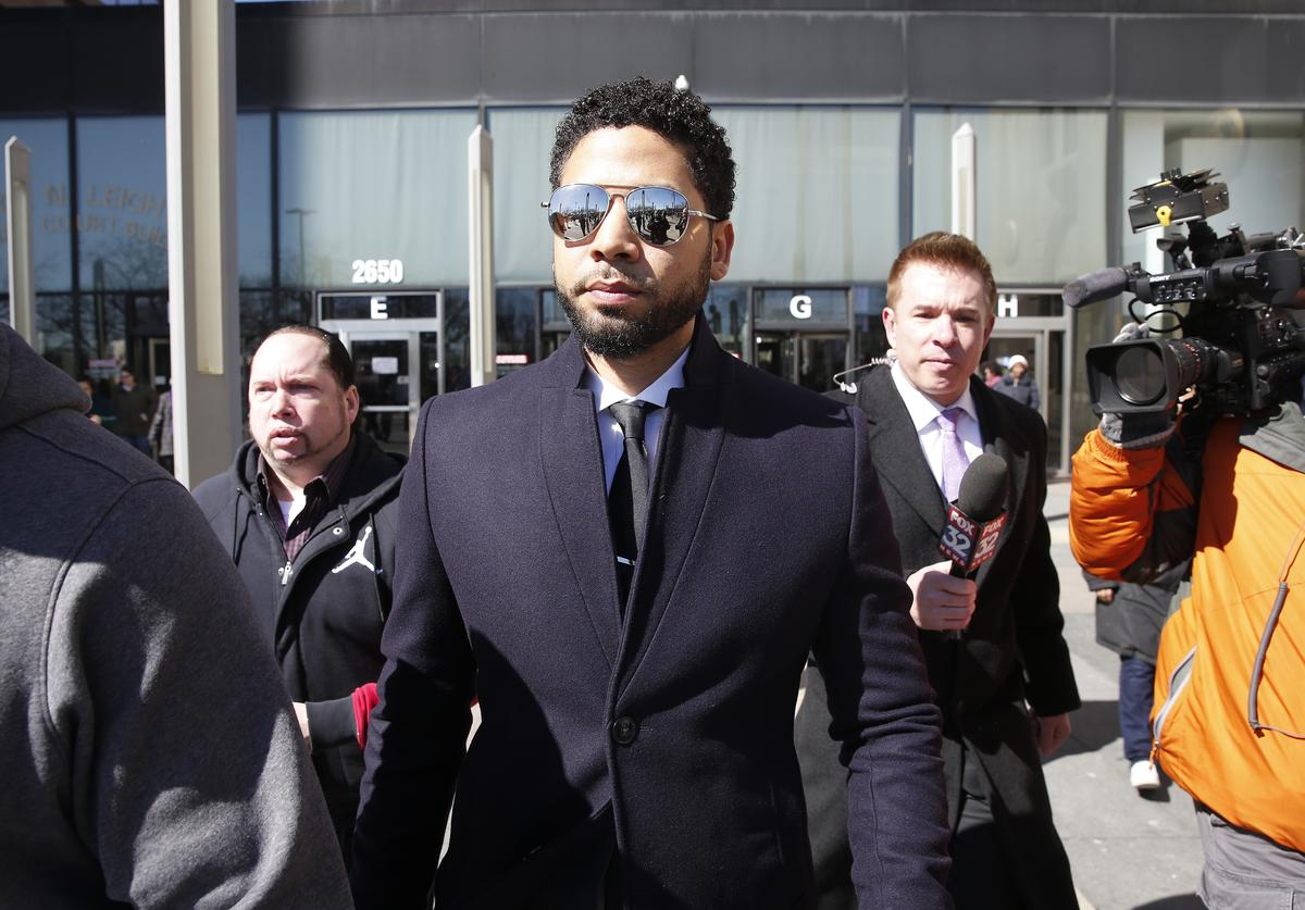 Actor Jussie Smollett leaves the Leighton Courthouse after his court appearance on March 26, 2019 in Chicago, Illinois. This morning in court it was announced that all charges were dropped against the actor.
