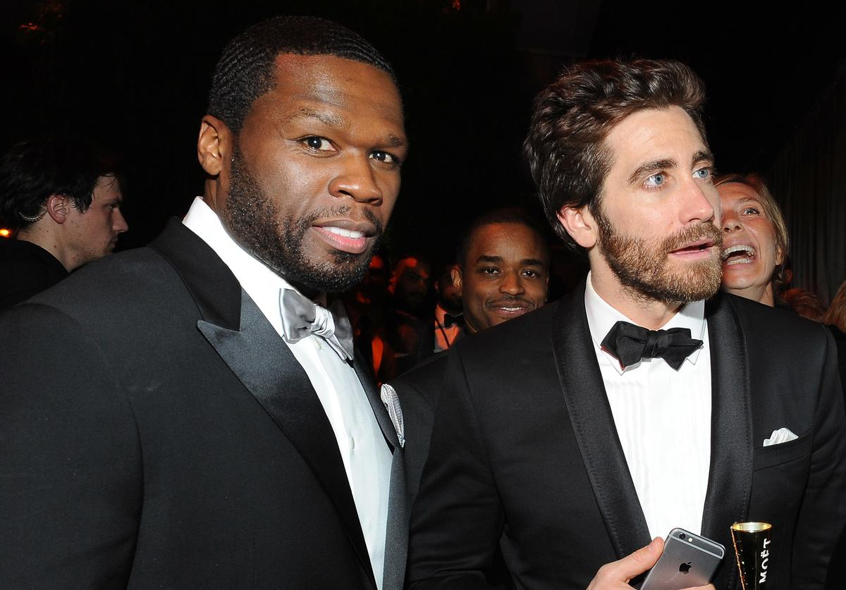 Rapper 50 Cent and actor Jake Gyllenhaal attend The Weinstein Company & Netflix's 2015 Golden Globes After Party presented by FIJI Water, Lexus, Laura Mercier and Marie Claire at The Beverly Hilton Hotel on January 11, 2015 in Beverly Hills, California.