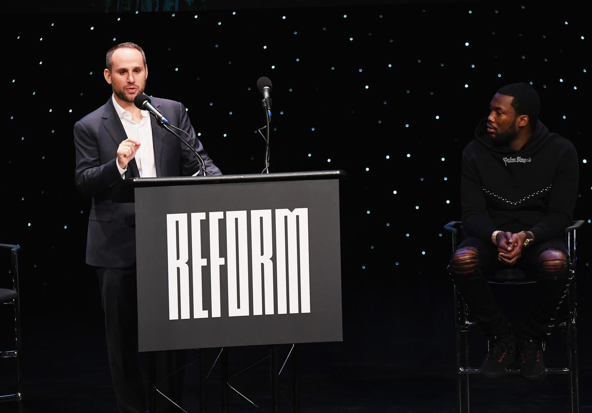 Michael Rubin and Meek Mill speak onstage during the launch of The Reform Alliance at John Jay College on January 23, 2019 in New York City.
