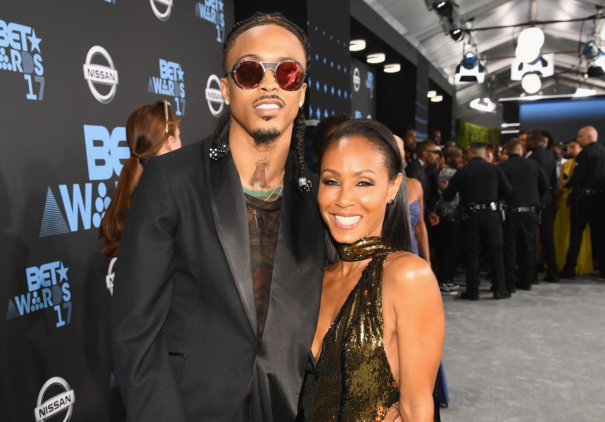August Alsina (L) and Jada Pinkett Smith at the 2017 BET Awards at Staples Center on June 25, 2017 in Los Angeles, California