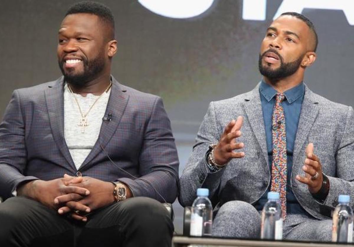 '50 Cent' Jackson and actor Omari Hardwick speak onstage during the 'Power' panel discussion at the Starz portion of the 2016 Television Critics Association Summer Tour at The Beverly Hilton Hotel on August 1, 2016 in Beverly Hills, California